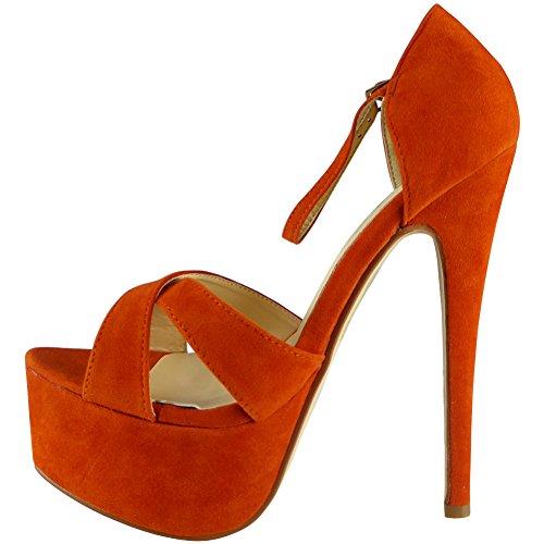 Plateforme sandales Talon Taille 36 Haute Des Orange Peeptoe dames 41 Nouvelles 4ctZqpwt