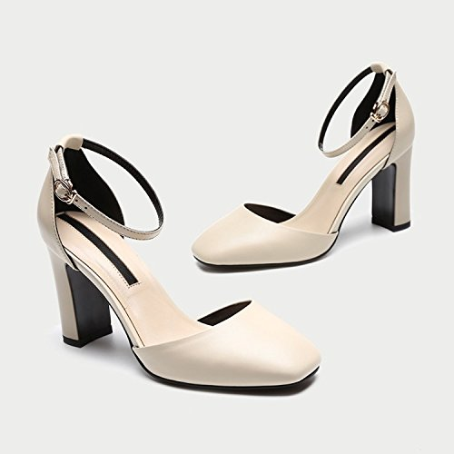 Shoes Women'S High High Heel Buckle Singles heels Hollow Thick Jqdyl Heel Beige Seasons wqE6IR