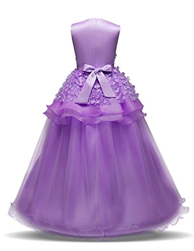 NNJXD Girl Sleeveless Embroidery Princess Pageant Dresses Prom Ball Gown Size (160) 11-12 Years Purple