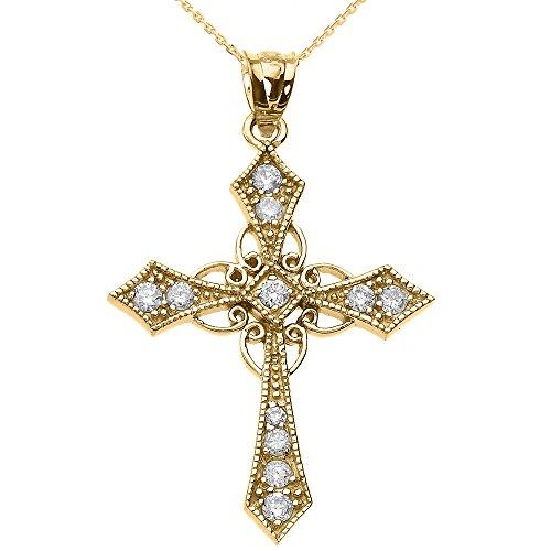Collier Femme Pendentif 10 Ct Or Jaune Diamant Celtique Croix (Livré avec une 45cm Chaîne)