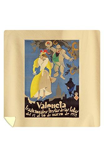 Spain - Valencia - Fiestas de las Fallas - (artist: Vercher, A. c. 1932) - Vintage Advertisement (88x88 Queen Microfiber Duvet Cover) by Lantern Press