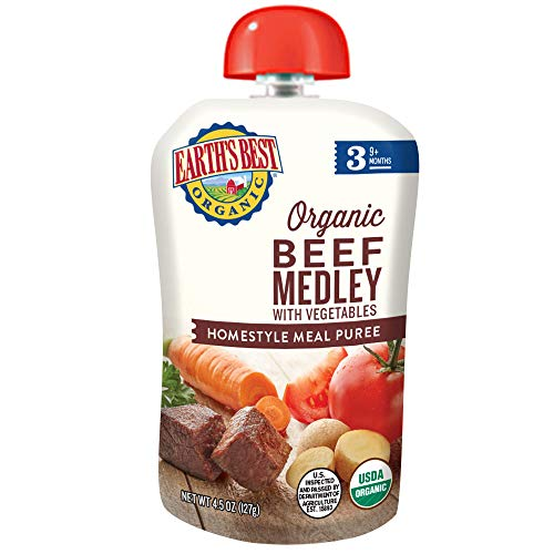 Earth's Best Earth's Best Organic Stage 3 Baby Food, Homestyle Beef Medley with Vegetables, 4.5 Ounce Pouch (Pack of 12), 12 - Meat Organic Kosher