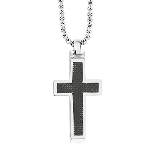 Black Carbon Fiber Tungsten Carbide Cross Pendant ON 3MM Stainless Steel Box Chain Necklace