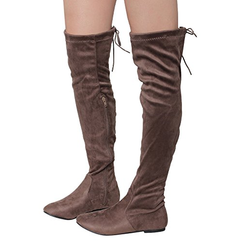 NATURE Taupe BREEZE Over Up Tie The Dress Heel Flat Boots Knee FD99 Women's Low rgrOHqw61
