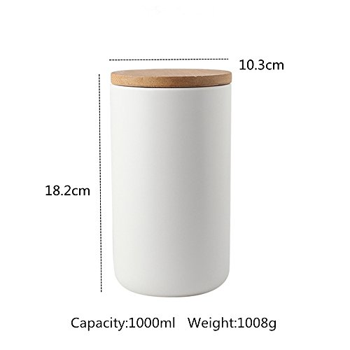 OnePine Set of 3 Air Tight Jars Ceramic Storage Containers with Airtight Seal Bamboo Lids Kitchen Canisters for Tea Sugar Coffee Spice Seasoning and More by OnePine (Image #1)