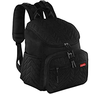 Diaper Bag Backpack, Large Multifunction Nappy Bag with Insulated Pocket Changing Pad Stroller Straps, Maternity Travel Backpack for Baby Care, Made of Lightweight Splash-Resistant Nylon Material