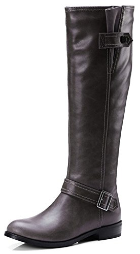 Easemax Women's Unique Round Toe Chunky Low Heel Side Zipper Buckle Mid Calf Boots Grey