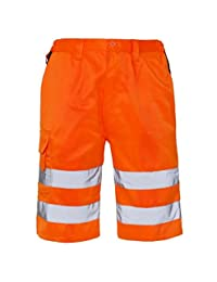 My Choice Stuff Men Hi Vis Shorts with Partially Elasticated Waist