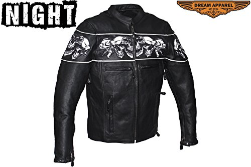 Mens Reflective Skull Leather - Mens Leather Jacket with Sleek Collar with Reflective Skulls Gun Pockets (2XL)