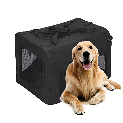 Magshion Portable Crates Kennels Fabric Transport With Sturdy Metal Frame Metal Cages (XXL-40'', Black) by Magshion