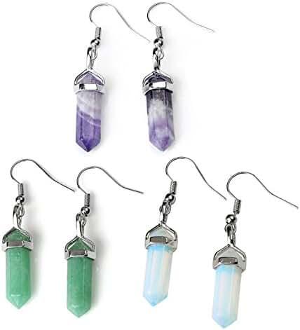 JOVIVI Womens Natural Amethyst Aventurine Rose Quartz Crystal Chakra Pendant Earrings Set
