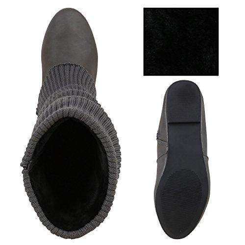 Stiefelparadies Stiefel Damen Stiefeletten Schnallen Nieten Stulpen High Heels Boots Trichterabsatz Schuhe Flandell Grau Grau