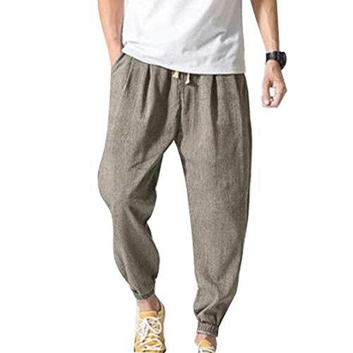 Harén Pantalones Hombres Verano Transpirable Sólido Battercake Cómodo Laterales Con Color Para Casuales De Playa Lino Ligero Grau 4 Sueltos 3 Bolsillos 4wdxqAP