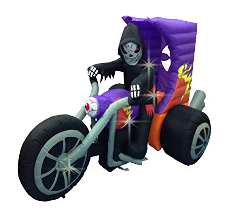 BIGJOYS 8 Foot Halloween Decoration Inflatables Motorcycle Grim Reaper Skull Decorations Inflatable Decor for Home Yard Lawn Garden Indoor -