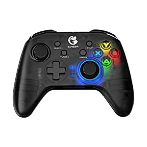 GameSir T4 pro Wireless Bluetooth Game Controller for Windows 7 8 10 PC/iOS/Android/Switch, Dual Shock USB Mobile Phone Gamepad Joystick for Apple Arcade MFi Games, Semi-Transparent LED Backlight