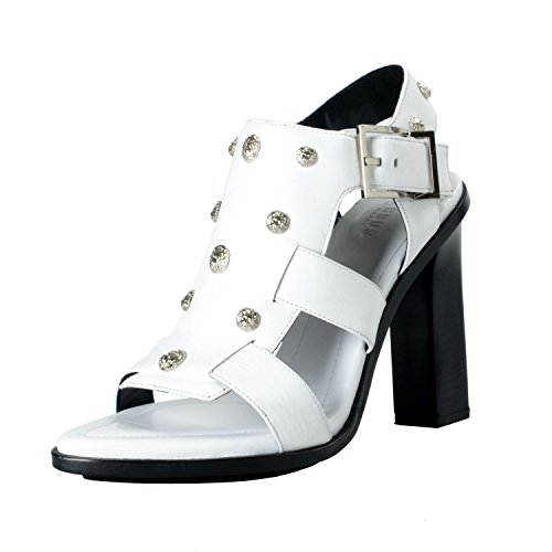 Versace Versus Women's White Leather Medusa Studs High Heel Sandals Shoes SZ US 7 IT 37 by Versus by Versace