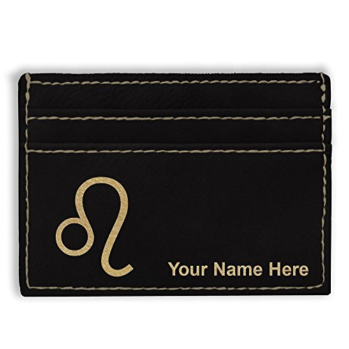 Money Clip Wallet, Zodiac Sign Leo, Personalized Engraving Included (Black)
