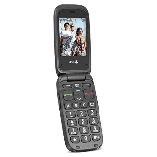 Doro PhoneEasy 612 GSM-Mobiltelefon Klapphandy (2 Megapixel Kamera, große Tasten, UKW-Radio) schwarz-schwarz