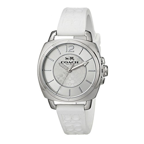 COACH Women's Boyfriend Small 34MM Rubber Strap Watch Silver/White Watch