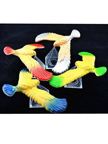 Balancing Bird - C&H Solutions 3 Pcs Cute Balancing Bird With Clear Triangle Stand (Colors May Vary) By