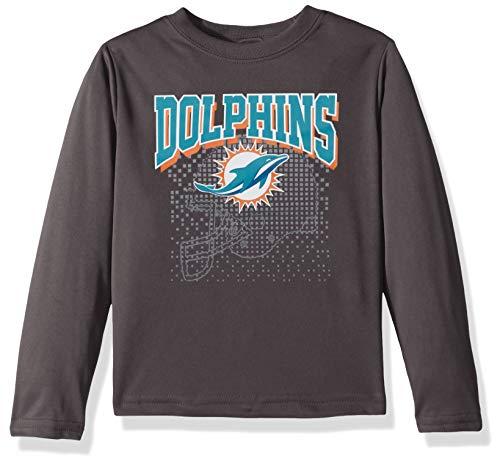 (NFL Miami Dolphins Unisex Long-Sleeve Tee, Gray, 4T)