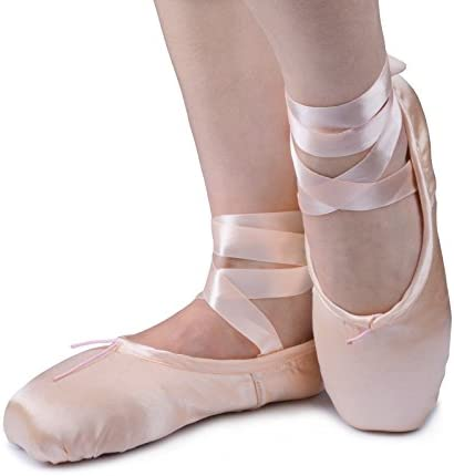 Pink Pointe Shoes, US 4 Inside Length:215mm,8.46Inch Smartodoors Women Girls Ballet Satin Pointe Shoes with Silica-Gel Toe Pads