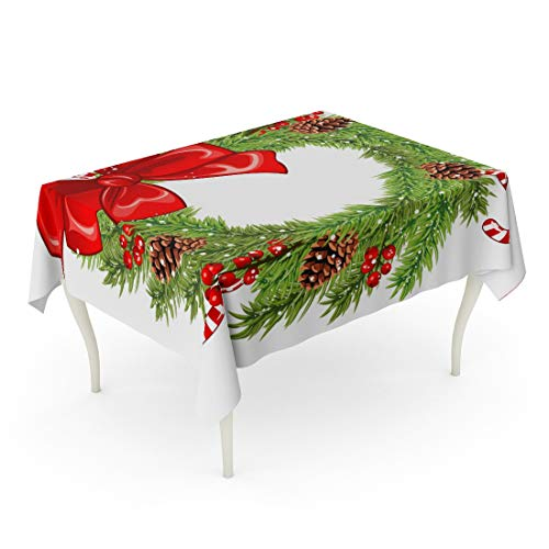 Tarolo Rectangle Tablecloth 52 x 70 Inch Green Berry of Christmas Wreath Red Bow Holly Berries Lollipops and Pinecones Celebration Cone Table Cloth