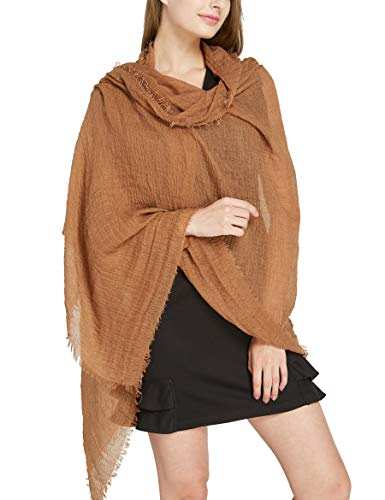 Brown Solid Large Long Shawl - Pantonight Cold Weather Scarves Warm Plain Wrinkle Cotton Wrap (scarf 203)
