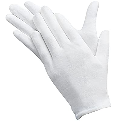 Maosifang 10 Pairs Slim Lightweight Soft Elastic Cotton Protective Working Glove White Coin Jewelry Silver Inspection Gloves,Medium Size