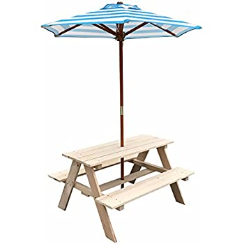 UHOM Kids Wooden Picnic Table Children Bench With Market Umbrella Natural  Yard Garden Outdoor Indoor Play Part 90