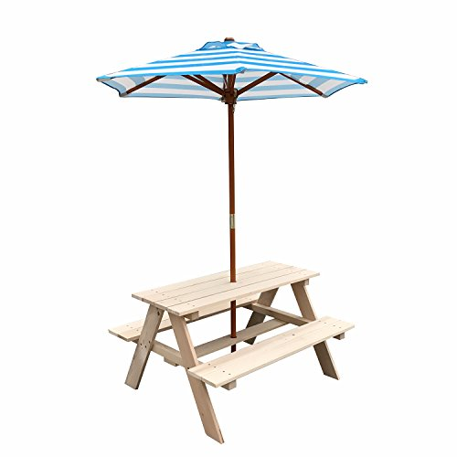 UHOM Kids Wooden Picnic Table Children Bench with Market Umbrella Natural Yard Garden Outdoor Indoor Play Set