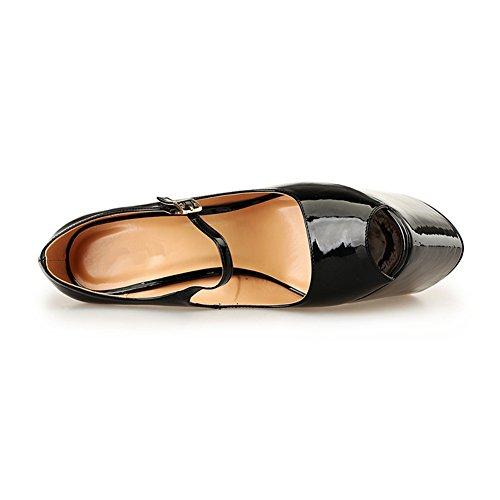 Donna E Uomo Comfort Brevetto Peep Toe Cinturino Alla Caviglia Vestito Da Partito Piattaforma Pompa Cuneo Tacco Alto Nero