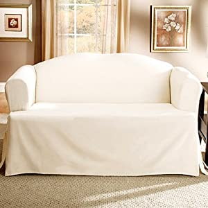 Lightweight Cotton T Cushion Loveseat Slipcover Natural Home Kitchen