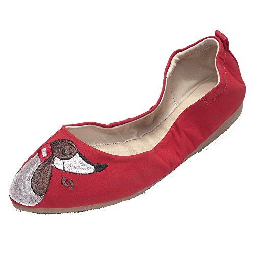 VogueZone009 Damen Weiches Material Ziehen auf Rund Zehe Niedriger Absatz Pumps Schuhe Rot