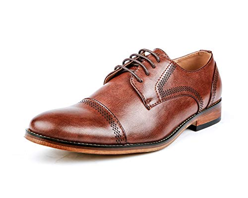 G61069-133 Mens Classic Oxford Formal Dress Leather Lining Captoe Lace-Up Brogue Derby Shoes - Brown 12