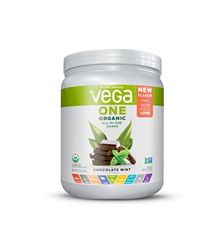 Vega One Organic All-in-one Shake  Chocolate Mint (9 servings, 12.7 oz) - Plant Based Vegan Protein Powder, Non Dairy, Gluten Free, Non GMO