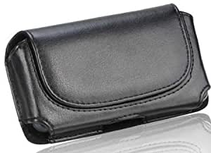 Viesrod - Samsung Freeform 4 Black Leather Horizontal Case Pouch With Stitched Magnetic Closure Flap Built In Leather Wrapped...