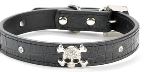 "Black Skull Collar More Than 3/4"" Wide - Pet Dog Cat Faux Leather Sparkle Gemstone Black Collar, Metallic Crystal Rhinestone Gem Dog Collar with Rhinestone Buckle - For the Best Fashion Pet Pal (L)"