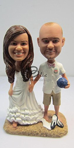 Custom Bobblehead Couple Posing For Picture By The Beach