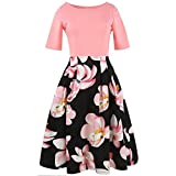 Women Dress,Leedford Women Vintage Retro Floral Printed Patchwork Half Sleeve Spring Garden Swing Prom Party Cocktail Dress (S, Pink)