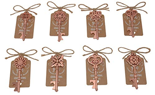 Wedding Favors for Guests 40 Pack Mixed Large Skeleton Key Bottle Openers (Rose Gold,8 styles) with Tagand Twine Vintage Bridal Shower Favors Bottle Opener (Rose Gold 40pcs) -
