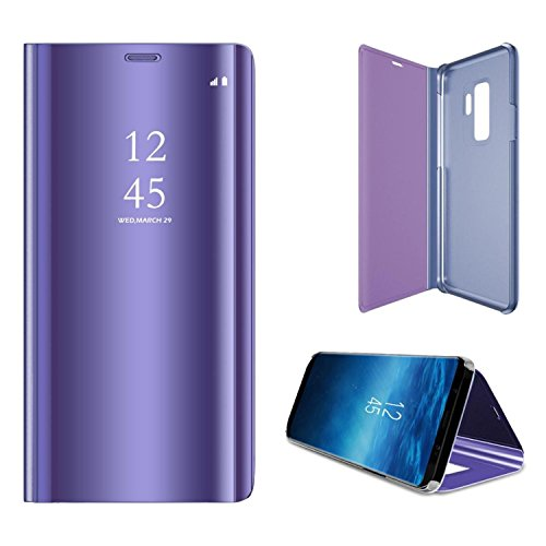 ATRAING Galaxy S9 Plus Case, A Trading Luxurious Mirror Smart Electroplate Translucent Stand Flip Cover for Samsung Galaxy S9 Plus (Mirror Watch Phone)
