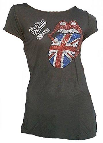 Amplified Damen Lady Viskose Tunika T-Shirt Anthrazit Grau Charcoal Gray Official The Rolling Stones Merchandise Union Jack England Strass Zunge Diamante Lick Rock Star