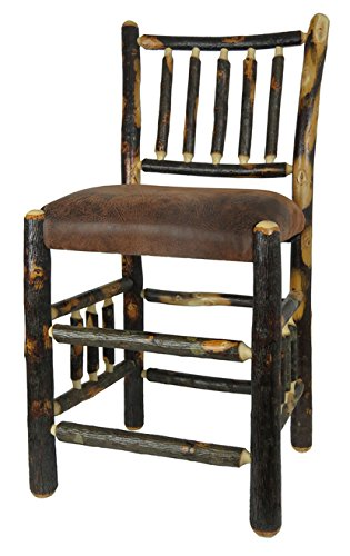 Hickory Rustic Bar Stool - Rustic Hickory Bar Stool Upholstered Seat Spindle Back & Sides - 24