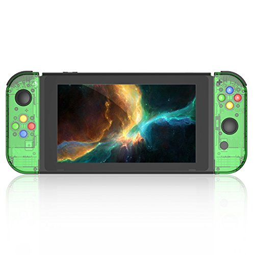 BASSTOP [Update Version] NS Joycon Handheld Controller Housing DIY Replacement Shell Case for Nintendo Switch Joy-Con (L/R) Without Electronics(Joycon-Jungle - Replacement Green Transparent