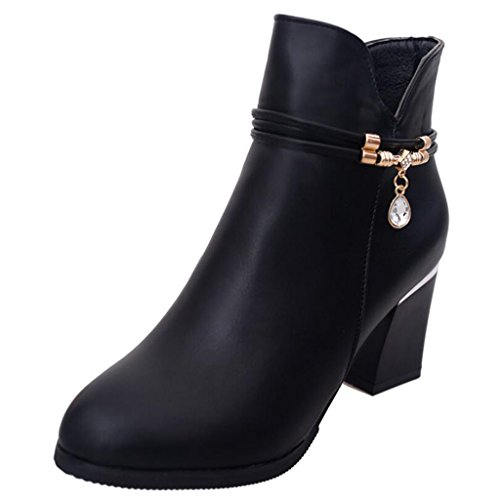 Binying Women's Round-Toe Block Heel Zip Metal Ankle Boots Black