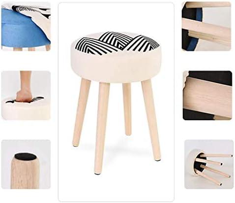 YUMUO Tabouret en Bois Massif Adulte Petit Banc Mode Tissu Canapé Maison Table Basse Housse en Tissu (Taille: 32 * 28 CM)