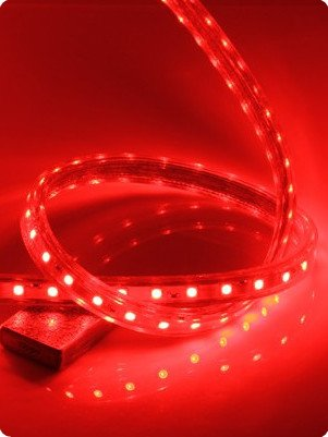 CBConcept 90FT RED 120 Volt High Output LED SMD5050 Flexible Flat LED Strip Rope Light - [Christmas Lighting, Indoor / Outdoor rope lighting, Ceiling Light, kitchen Lighting] [Dimmable] [Ready to use] [7/16 Inch Width X 5/16 Inch Thickness] by CBconcept (Image #1)