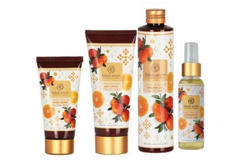 Sabai-arom Tangy Delight Collection Set. Body Cream, Hand Cream, Shower Gel, Nourishing Oil Spray. Fresh Scented and Incredibly Soft.