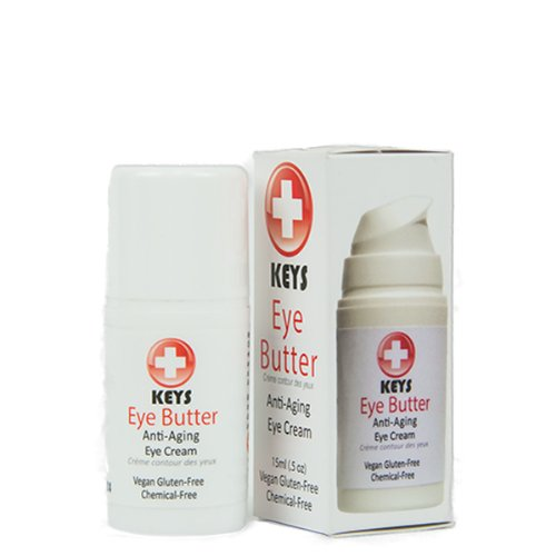 Keys Eye Butter Luminescent Natural, Vegan, Chemical-Free Moisturizing Eye Cream for Sensitive Skin in Airless Travel Pump - with Whole Cucumber Extract, Aloe Vera, Avocado Oil, and Shea, 0.5 ounces